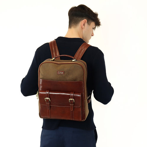 Hand buffered leather and canvas backpack - rucksack art. 240