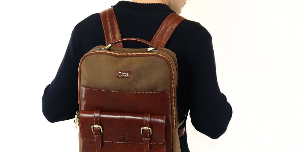 Hand buffered leather and canvas backpack art. 240
