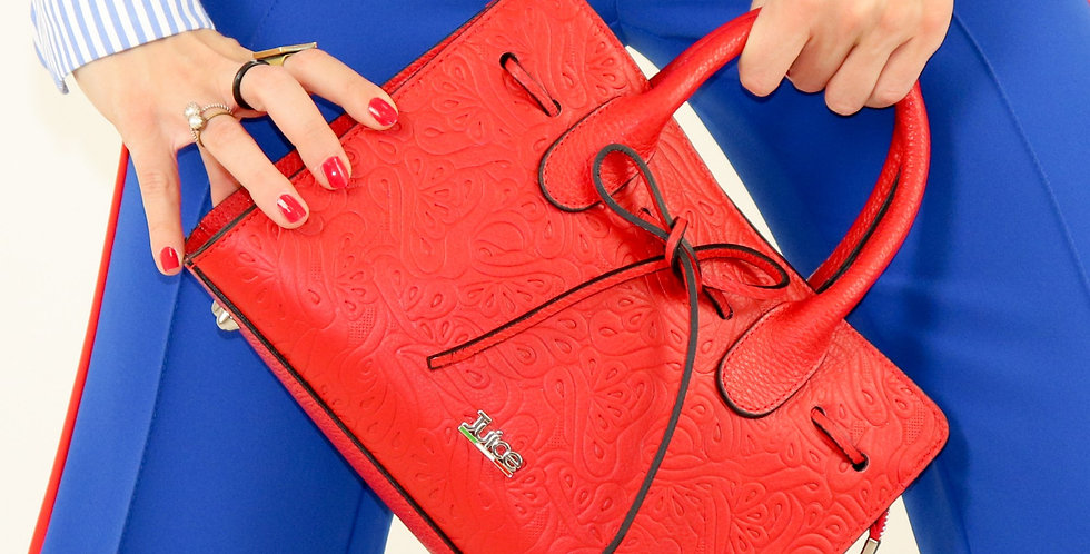 Soft embossed and tumbled genuine leather handbag art. 192