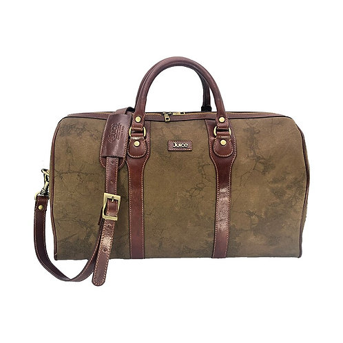 Hand buffered leather and canvas travel bag art. 243