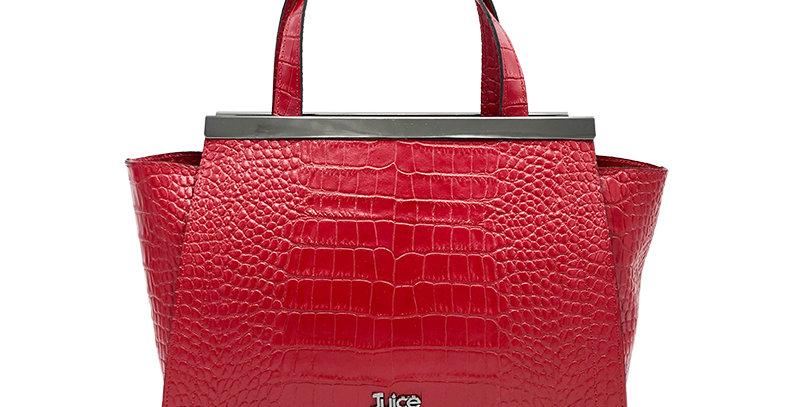 Printed croco genuine leather handbag art. 167