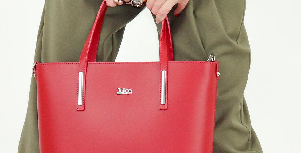 Plain genuine leather handbag art. 186