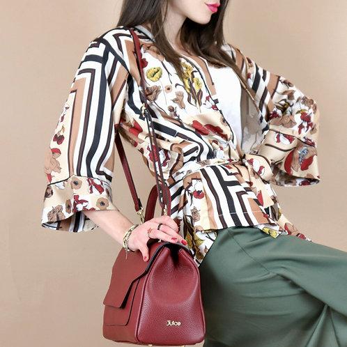 Tumbled genuine leather handbag art. 079