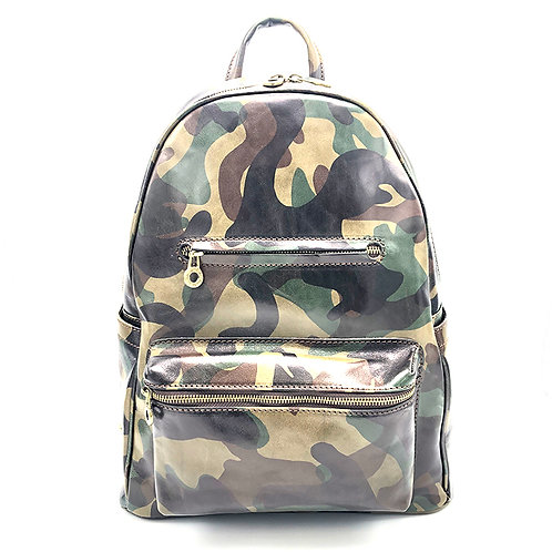Printed leather backpack - rucksack art. 232