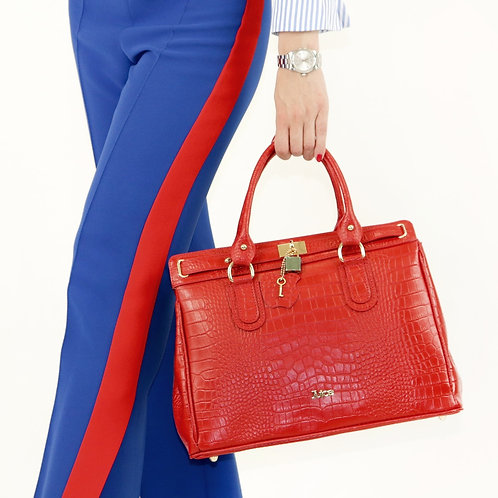 Printed croco genuine leather handbag art. 215