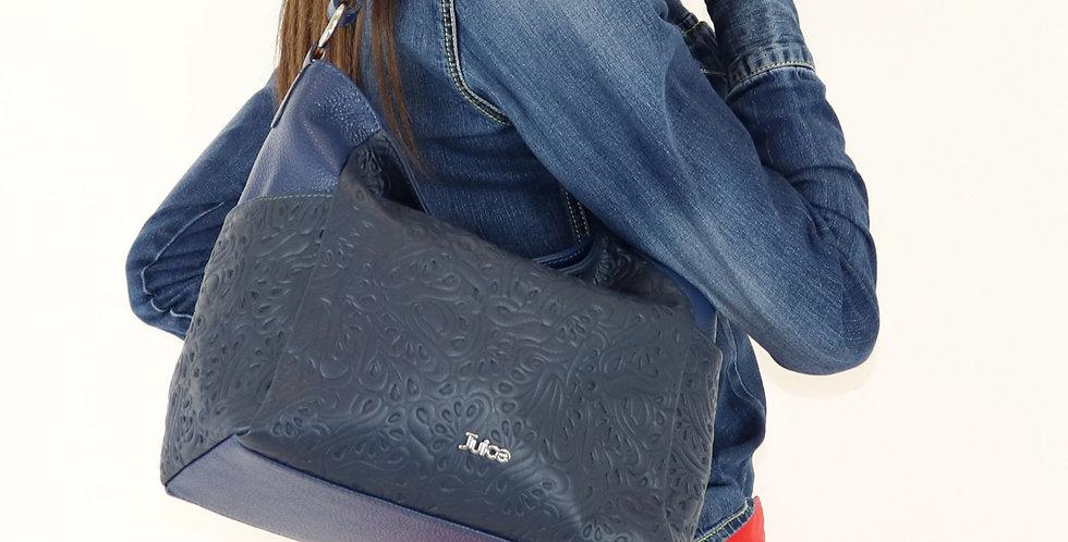 Soft embossed and tumbled genuine leather handbag art. 175