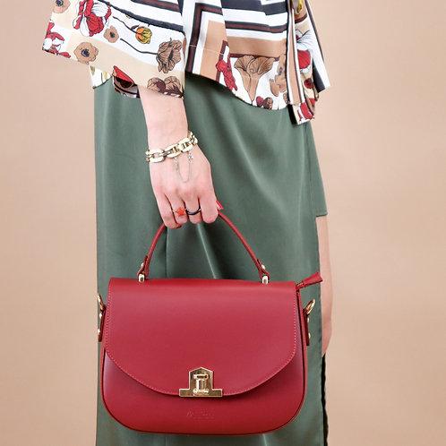 Plain genuine leather handbag art. 035