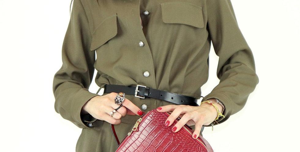 Printed croco genuine leather handbag art. 207
