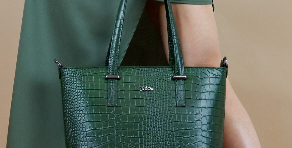 Printed croco genuine leather handbag art. 179