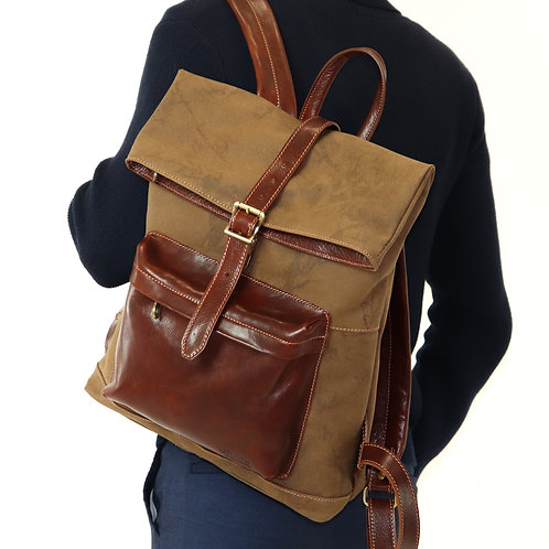 Hand buffered leather and canvas backpack - rucksack art. 247