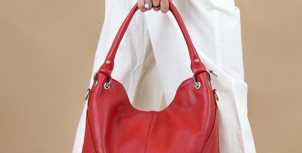 Tumbled genuine leather handbag art. 034