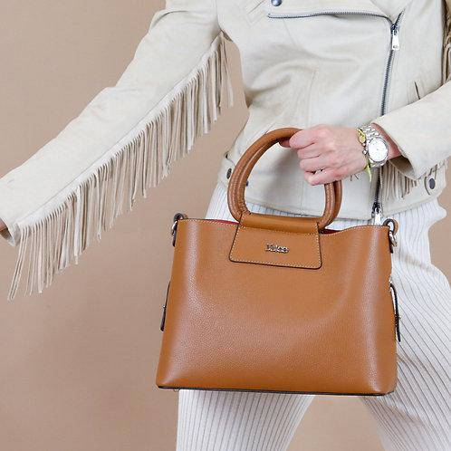 Tumbled genuine leather handbag art. 216