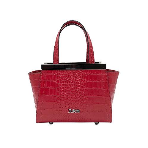 Printed croco genuine leather handbag art. 166