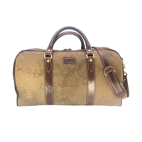 Hand buffered leather and canvas travel bag art. 246