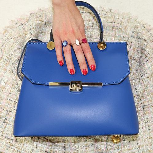 Plain genuine leather handbag art. 067