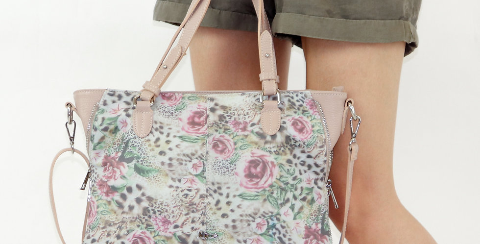 Printed genuine leather handbag art. 202