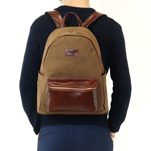 Hand buffered leather and canvas backpack - rucksack art. 238