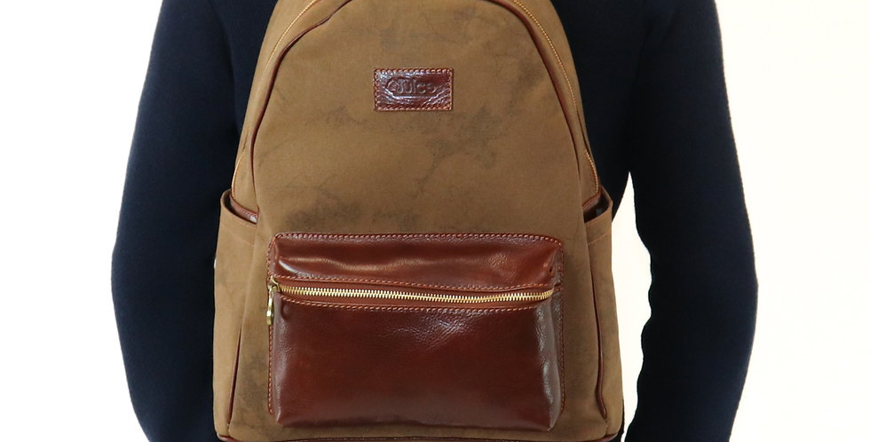 Hand buffered leather and canvas backpack art. 238