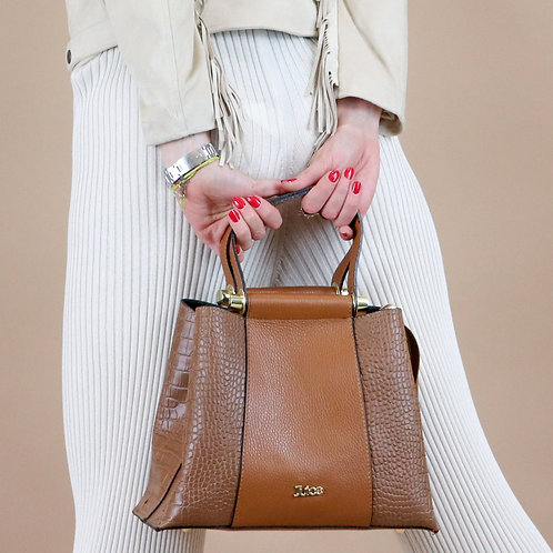 Printed croco genuine leather handbag art. 217