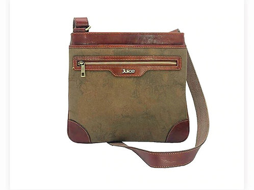 Hand buffered leather and canvas shoulder bag art. 244