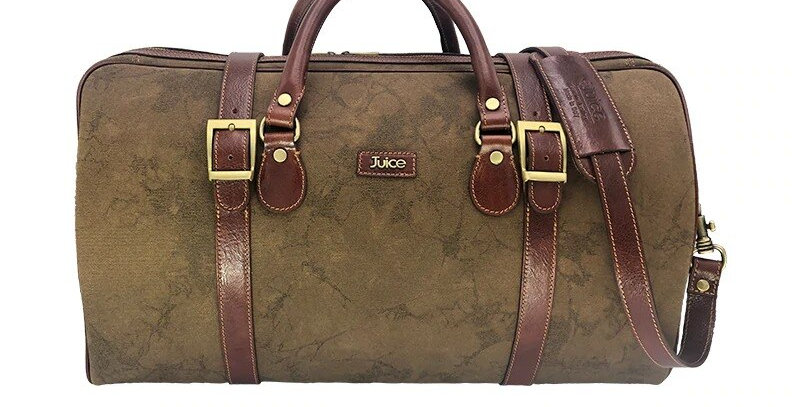 Hand buffered leather and canvas travel bag art. 241