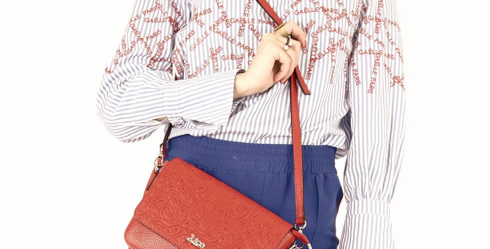 Soft embossed and tumbled genuine leather shoulder bag art. 184