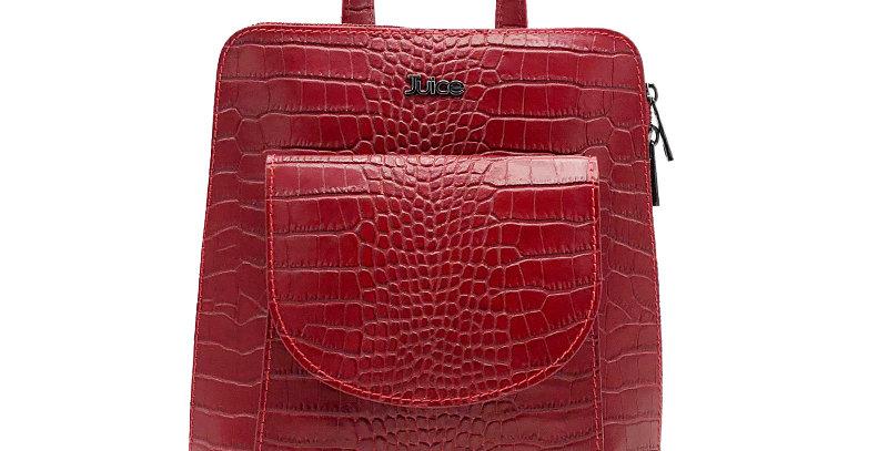 Printed croco genuine leather backpack art. 171