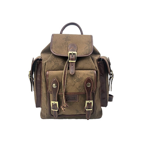 Hand buffered leather and canvas backpack - rucksack art. 248