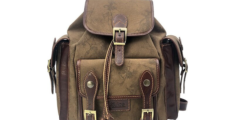 Hand buffered leather and canvas backpack art. 248