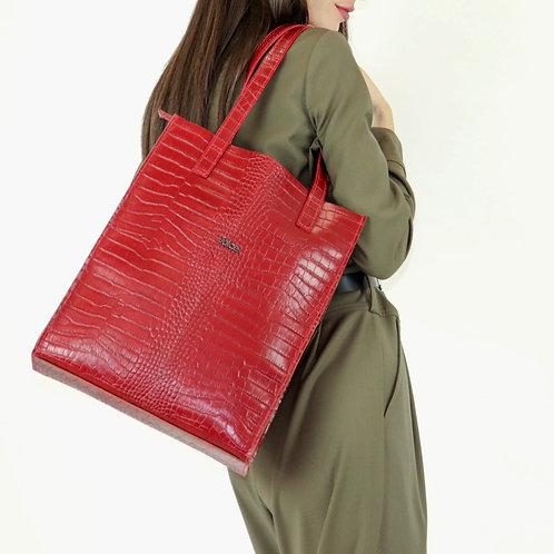 Printed croco genuine leather tote shoulder bag art. 182