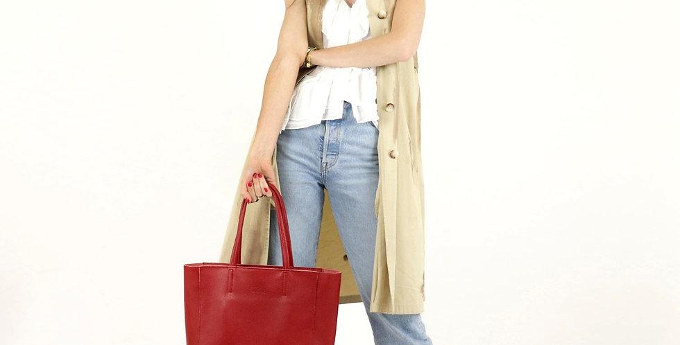 Tumbled genuine leather tote shoulder bag art. 198
