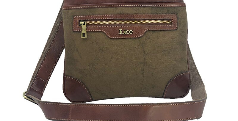 Hand buffered leather and canvas shoulder bag art. 245