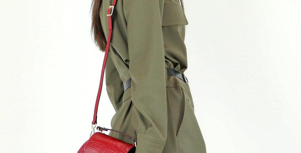 Printed croco genuine leather shoulder bag art. 206
