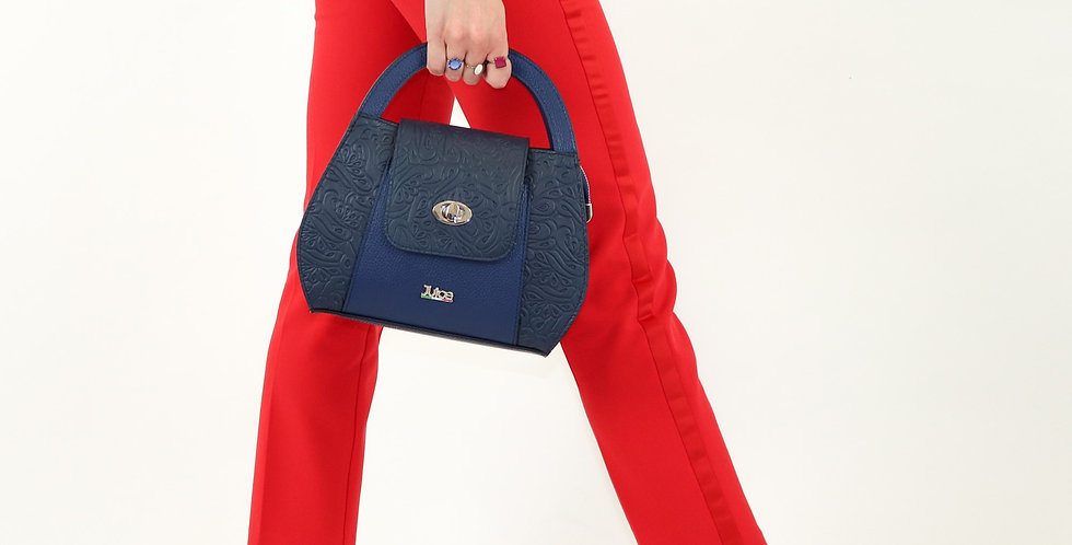 Soft embossed and tumbled genuine leather handbag art. 194