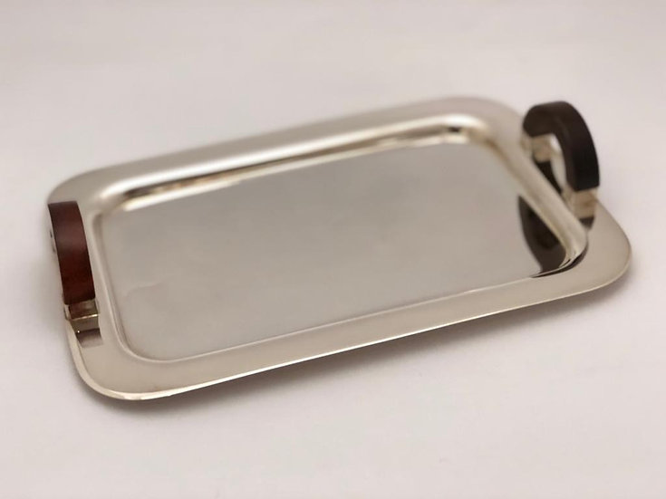 Silver plated tray w/ wooden handles