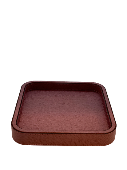 Tray in leather Handmade, Wine