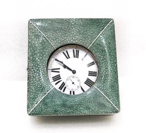 Travelling Art deco Small  Shagreen Clock