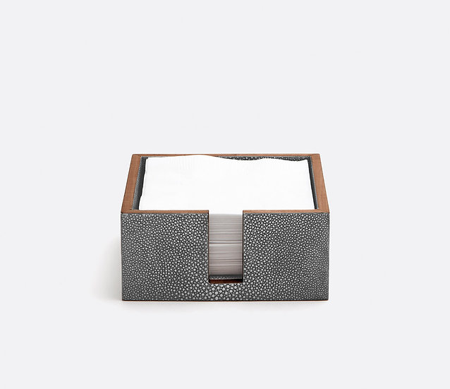 Cocktail Napkin Tray Cool Gray Faux Shagreen