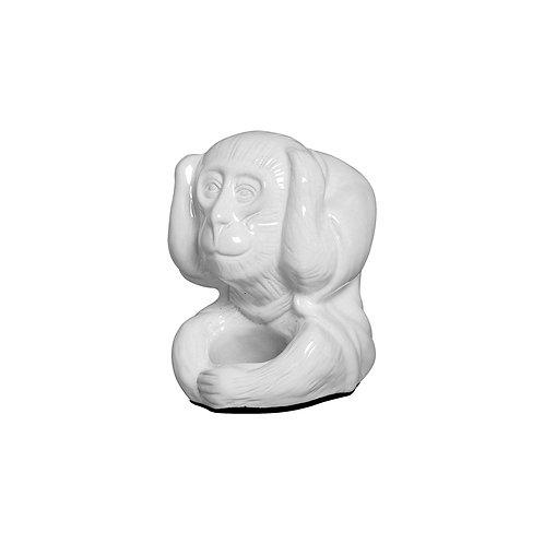 Monkey statues Don't See, Don't Hear, Don't Speak in white ceramic (Set of 3 )