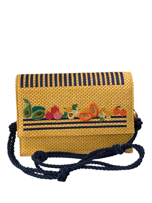 Bag Straw handembroidered Blue
