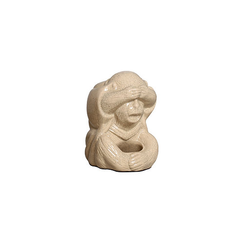Monkey statues Don't See, Don't Hear, Don't Speak in beige ceramic (Set of 3 )