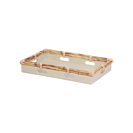 Tray in bamboo, celadon S