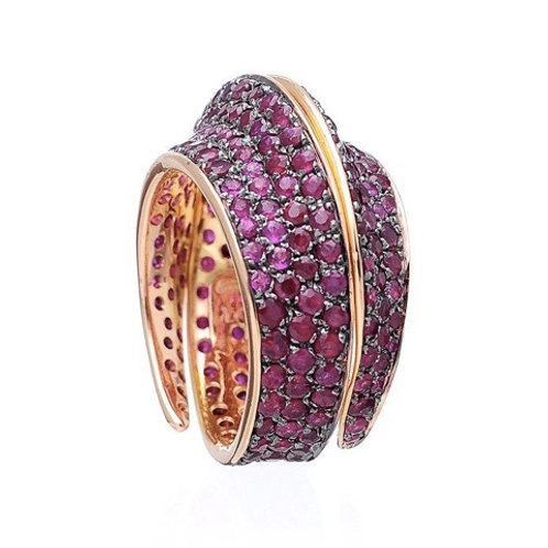Rose Gold Ring With Rubies