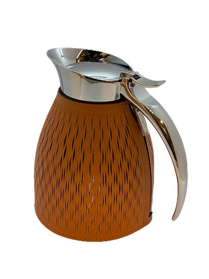 Carafe thermal in leather Handmade, Biscuit