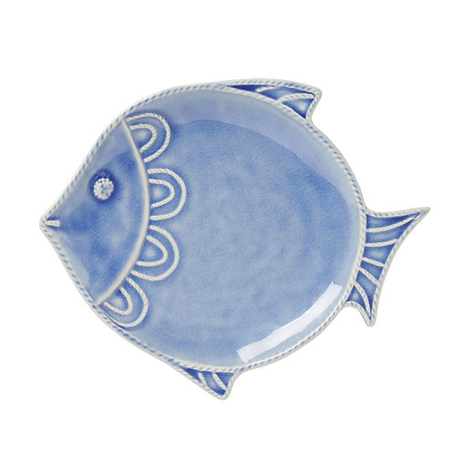 Dessert/Salad plate fish in blue ceramic (Set of 8)
