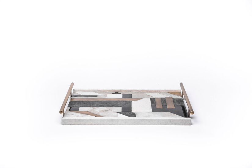 Tray with tube handles block pattern shagreen & penshell