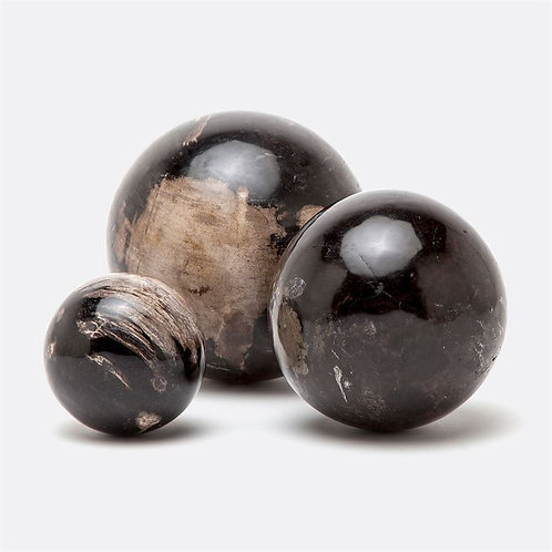Decorative spheres in petrified wood (set of 3)