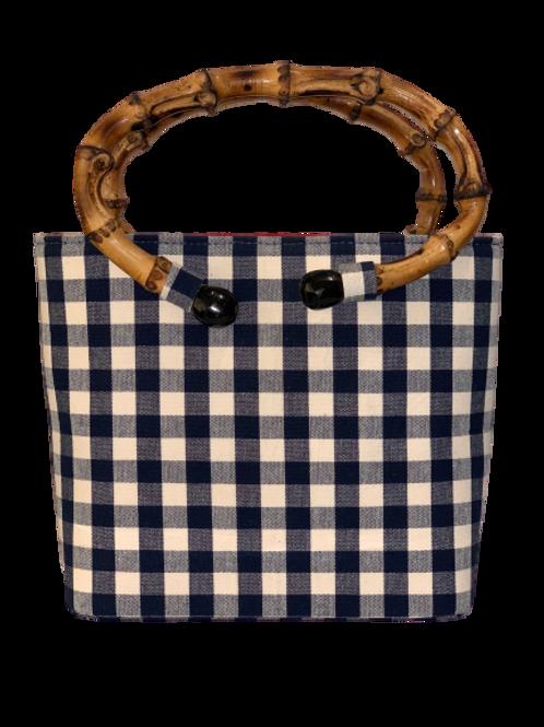 Bag Blue Vichy with natural  bamboo handle