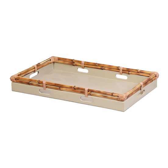 Tray in bamboo, celadon L