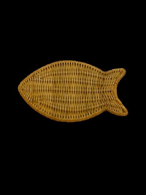 Coaster in natural wicker fish (12pcs)